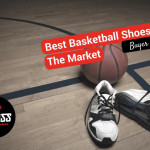 basketball shoes and ball on a court