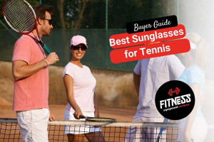 couples tennis group wearing sunglasses standing by the net