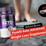 woman weighting herself in the scale as a background and in the front a bottle of purefit keto and the logo