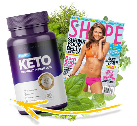 purefit keto bottle next to a magazine with a beautiful woman in the cover