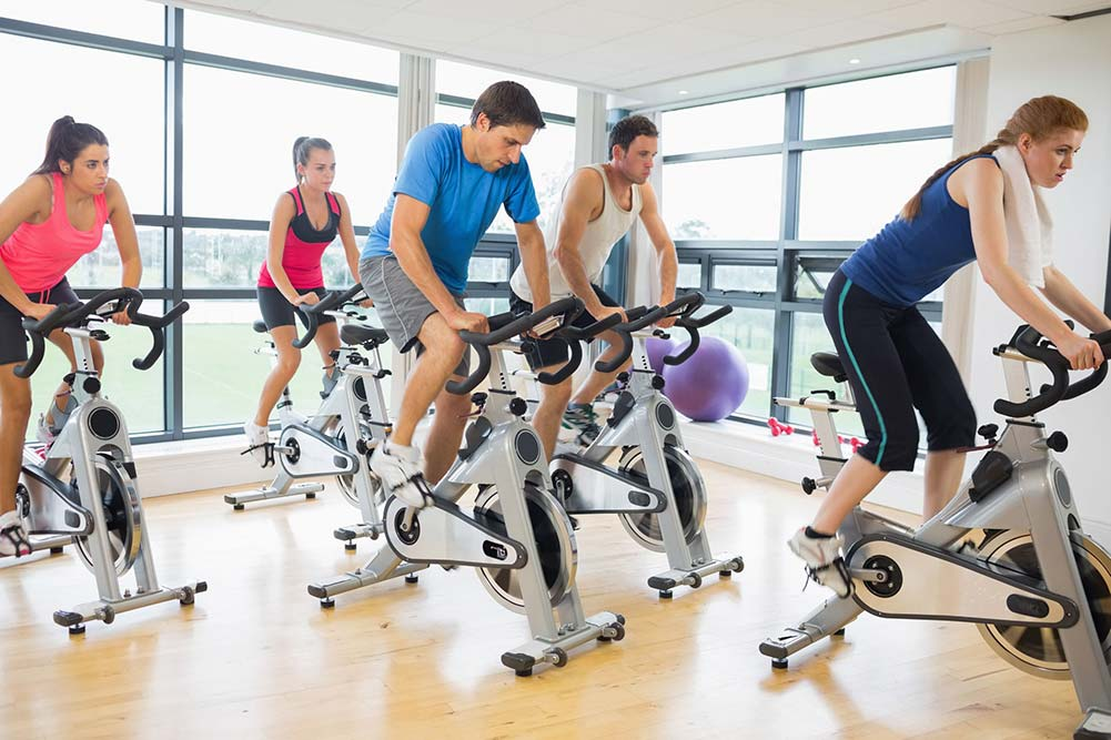 Five people in a spin class