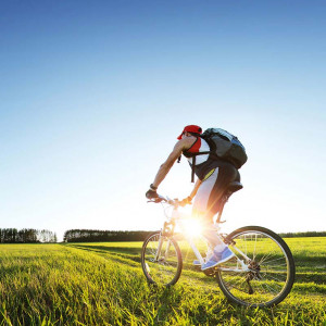 mountain biker in a field