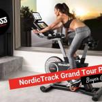 Woman riding a grand tour bike
