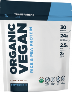Bag of organic vegan protein by Transparent Labs