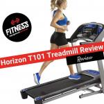 Woman running on a Horizon T101 Treadmill
