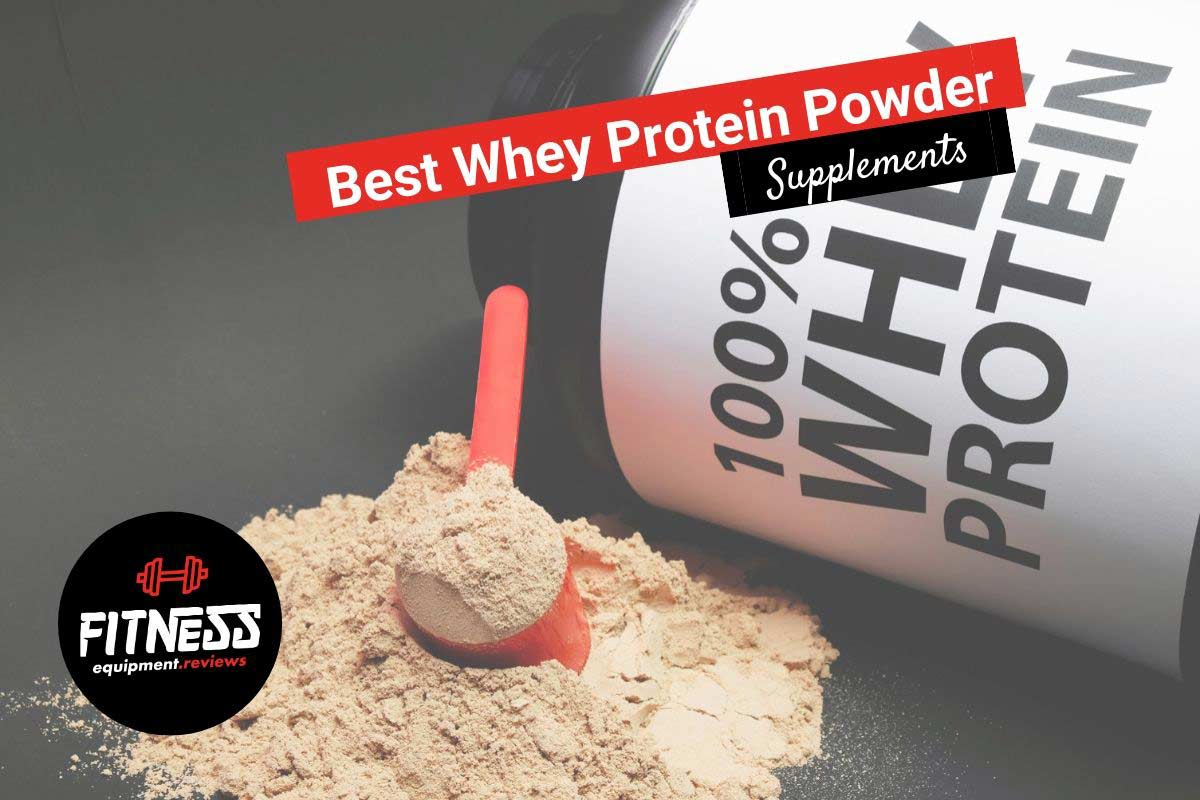 whey protein with powder on the bench