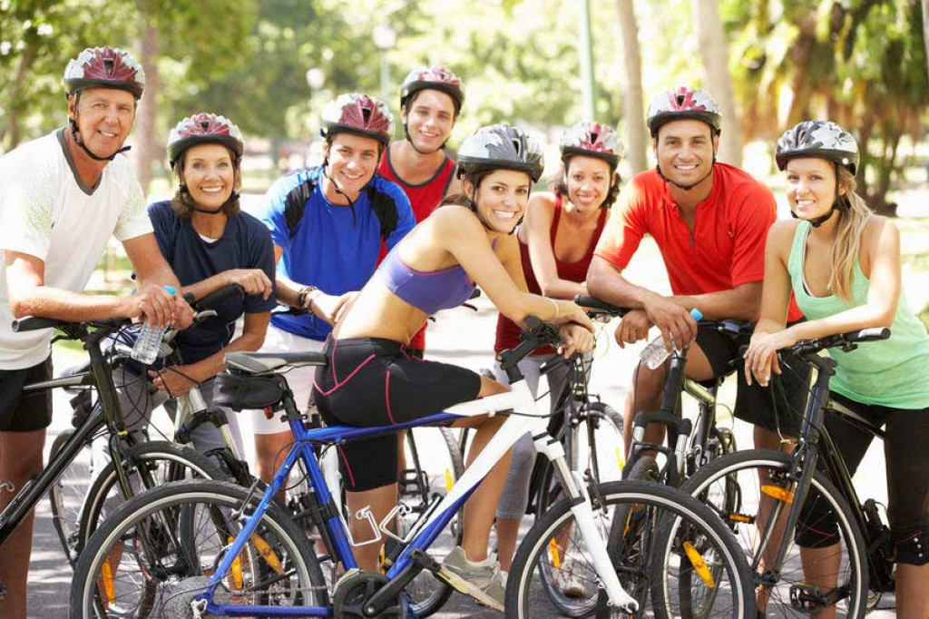 group of cyclists on their bikes