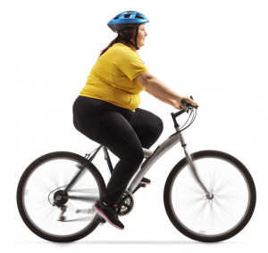 overweight woman on a bike