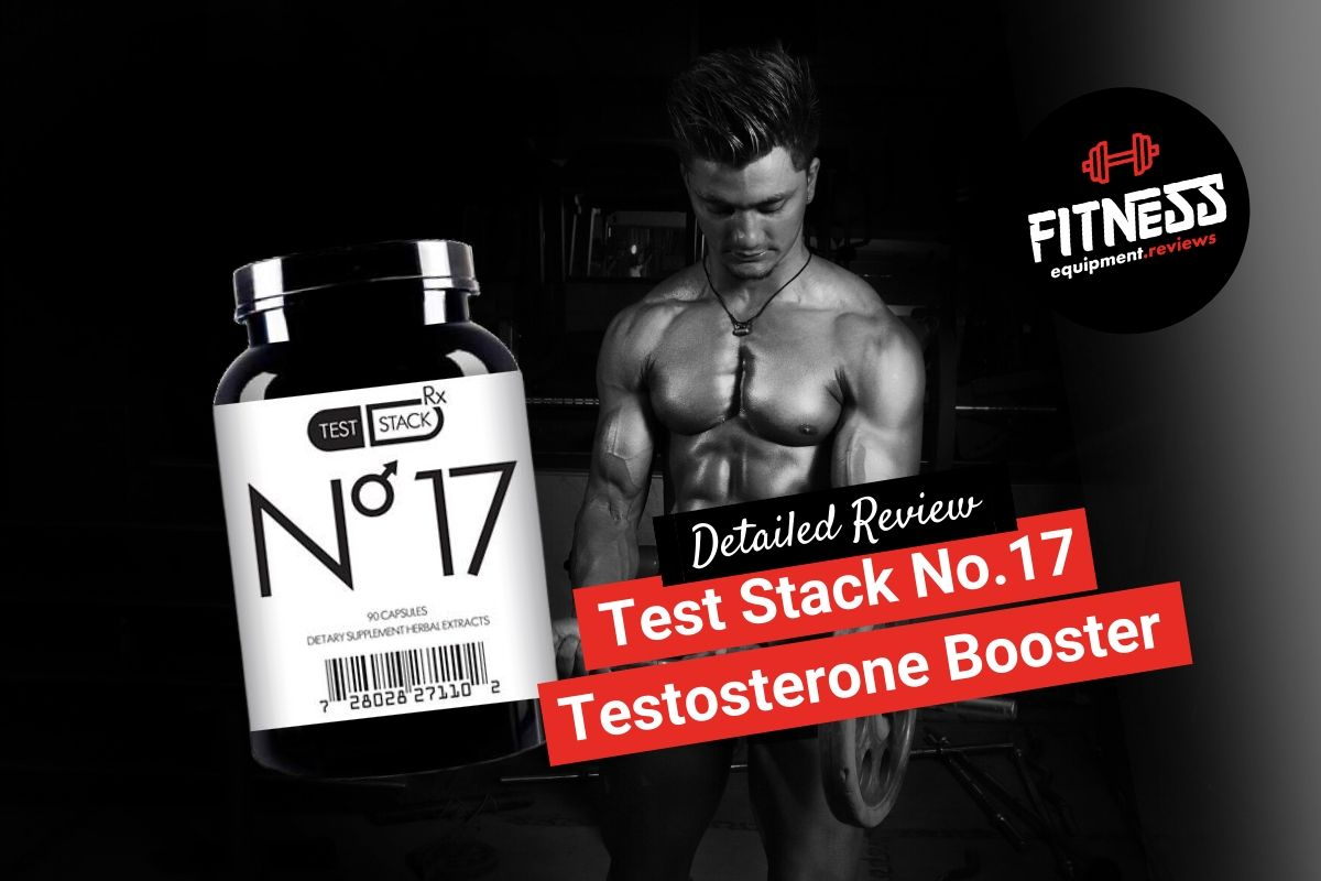 Featured image teststackrx test booster supplement, fit man lifting weights in the background