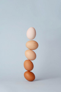 eggs stacked on top of each other