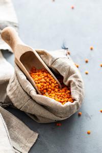 lentils in a scoop