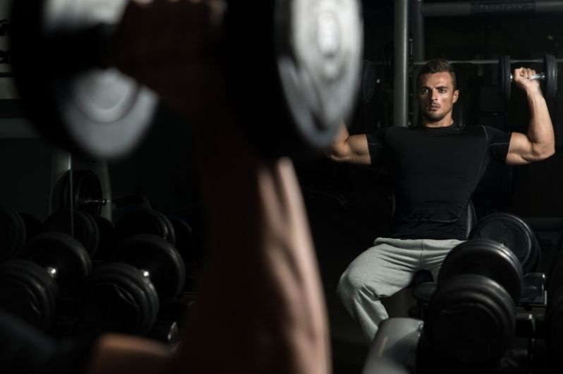 Seated dumbbell overhead press
