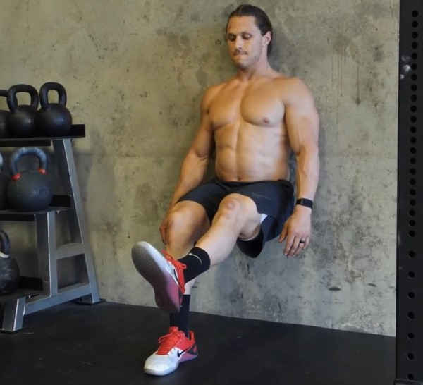 One leg wall sit