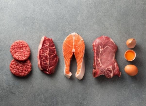 Various different raw meat on a table