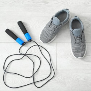 trainer shoes and rope for jump
