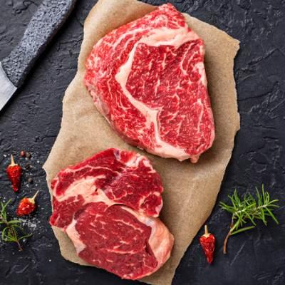 Raw Ribeye Steak and Spices